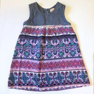 Girls Boho Chambray Floral Print Dress